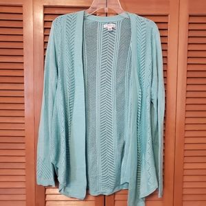 C&B Turquoise Crochet Open Front Sweater